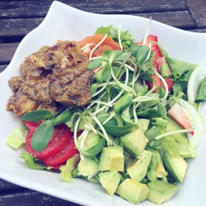 Mixed Greens with grass fed stew beef, sweet potato and avocado