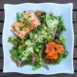 Green Salad with Salmon and Sweet Potato