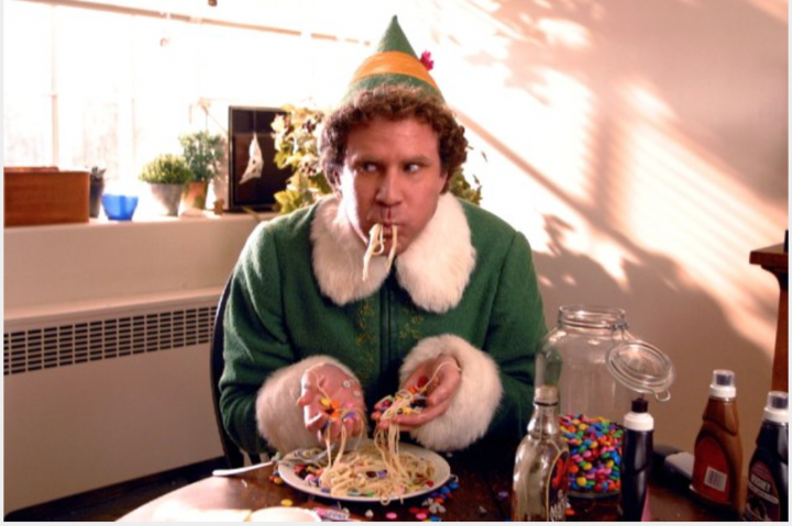 Will Ferrell from Elf Stuffing his Face