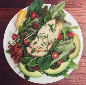 Green Salad with Bacon, Chicken, Avocado and Herbs