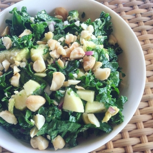 Kale Salad with Macadamia Nuts and Apple